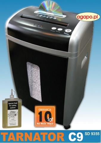 Niszczarka Tarnator C9 SD 9355, 18l, 2x8mm, 10 kartek, CD, najczęściej wybierana przez Klientów, olej 100 ml gratis